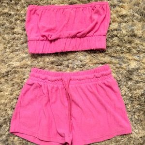 ⭐HOT PINK TERRY LOUNGE SET SIZE SMALL⭐